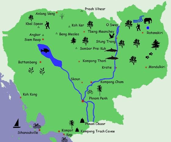 Northeast cambodia map